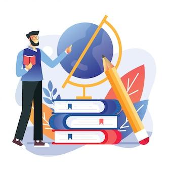 Terug naar school onderwijs leraar uitleggen geografische onderwerp stapel boeken en wereldbol met mentor. illustratie