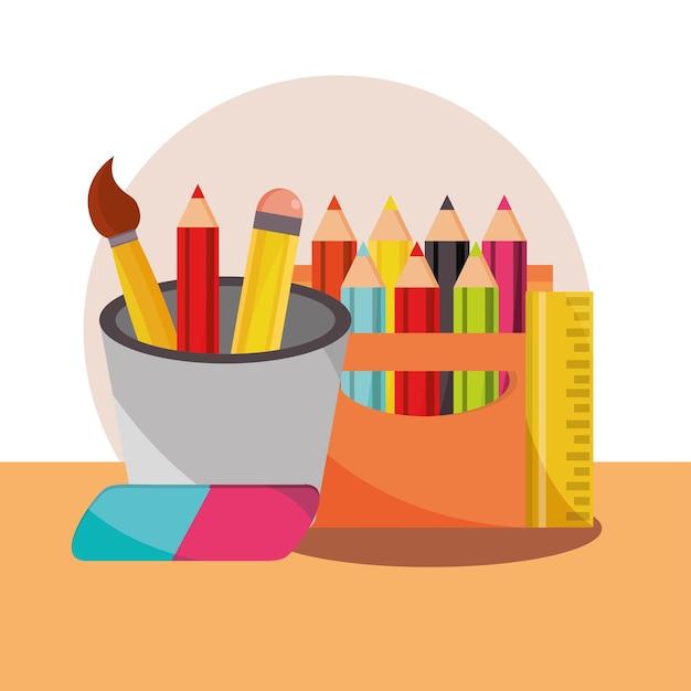 Terug naar school onderwijs levert kleurpotloden gum en penseel