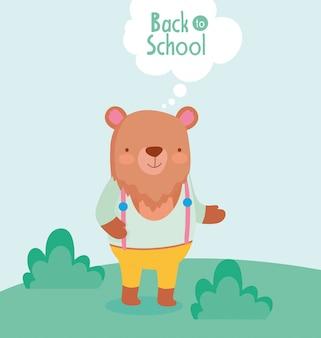 Terug naar school onderwijs schattige beer met in het gras