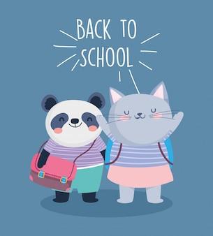 Terug naar school onderwijs schattige panda en kat met rugzakken vectorillustratie
