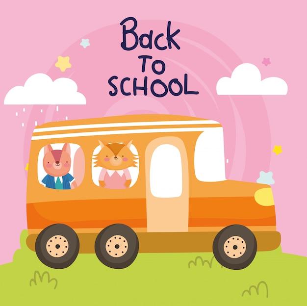 Terug naar school onderwijs schattige vos en eekhoorn in de bus