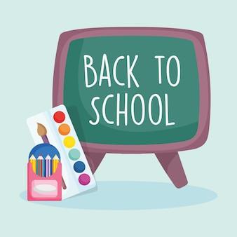Terug naar school onderwijs schoolbord potloden in doos en palet kleur