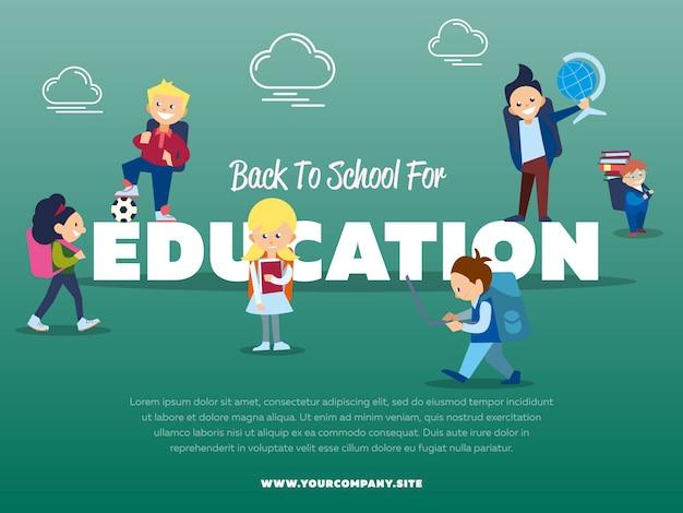 Terug naar school, onderwijs sjabloon