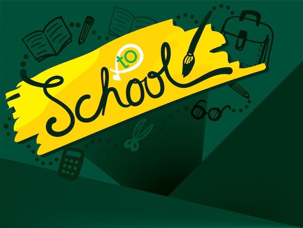 Terug naar school op groen schoolbord