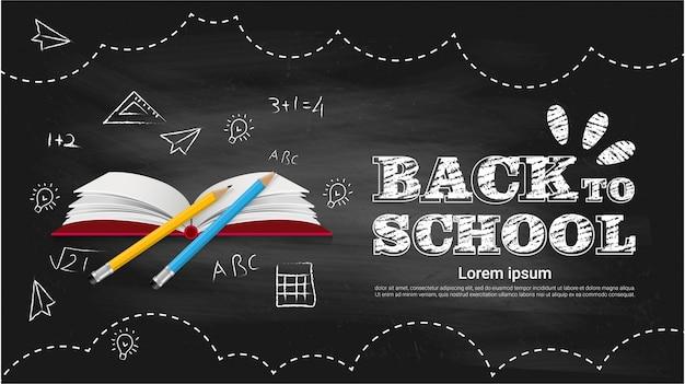 Terug naar school op zwarte bord achtergrond
