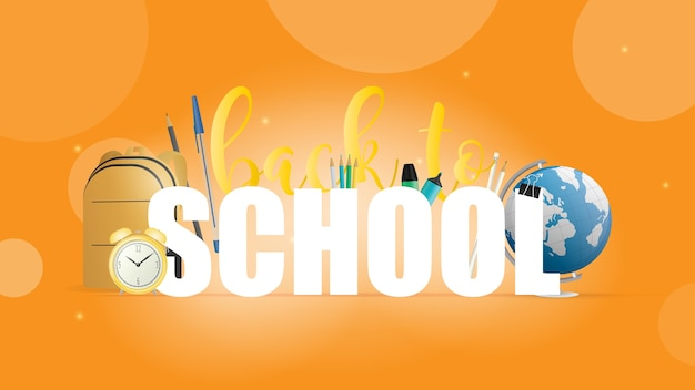 Terug naar school oranje banner. mooie inscripties, boeken, wereldbol, potloden, pennen, gele rugzak, gele oude wekker.
