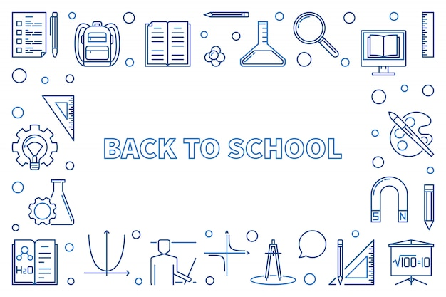 Terug naar school overzicht horizontale pictogram illustratie of frame