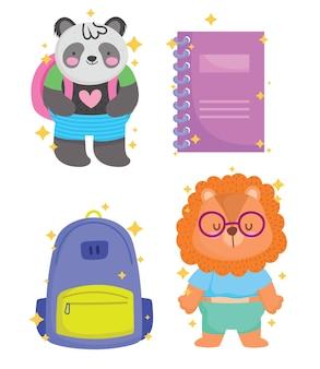 Terug naar school panda leeuw notitieboekje en tas ontwerp, onderwijs klasse en les thema vector