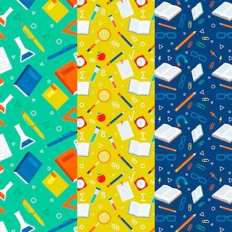 Terug naar school patronen plat ontwerp