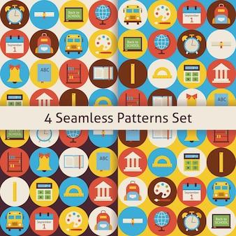 Terug naar school patronen set met kleurrijke cirkels. vlakke stijl vector 4 naadloze textuurachtergronden. verzameling van sjablonen voor wetenschap en onderwijs. terug naar school.