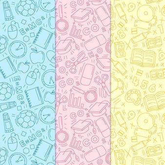 Terug naar school patroon handgetekende thema