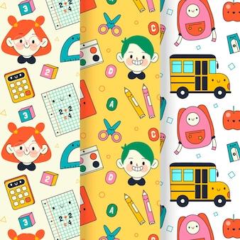 Terug naar school patrooncollectie Gratis Vector