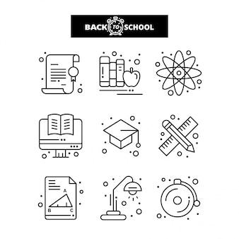 Terug naar school-pictogram. onderwijs en leren lijn pictogrammen instellen.