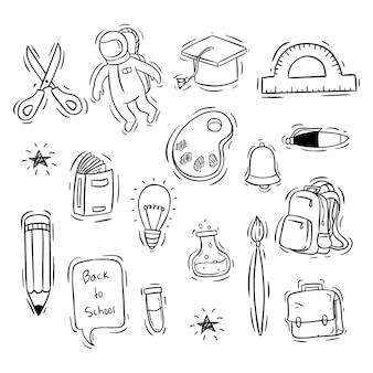Terug naar school pictogrammen collectie met hand getrokken stijl