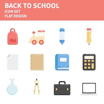 Terug naar school platte icon set
