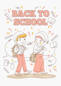 Terug naar school poster, kinderen klaar om te gaan