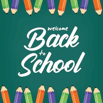 Terug naar school poster met kleuren potloden