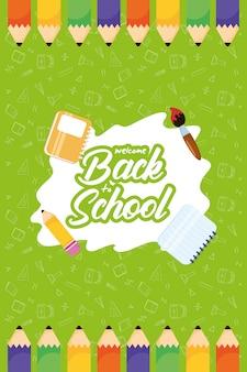 Terug naar school-poster met kleurenpotloden en benodigdheden