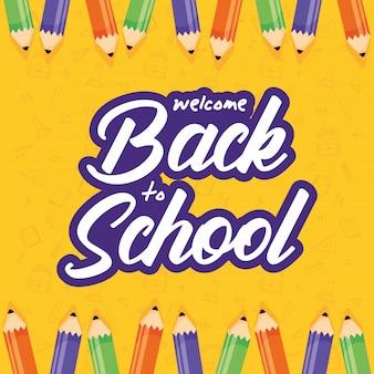 Terug naar school-poster met kleurenpotloden