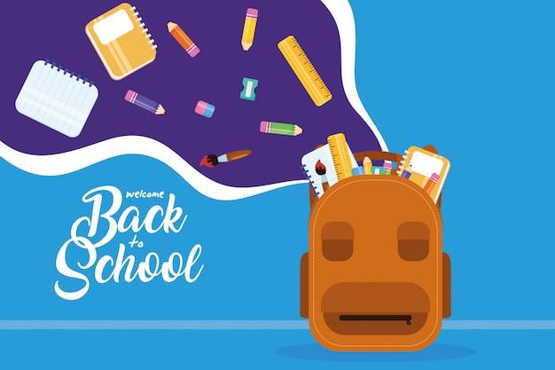 Terug naar school-poster met schooltas en benodigdheden