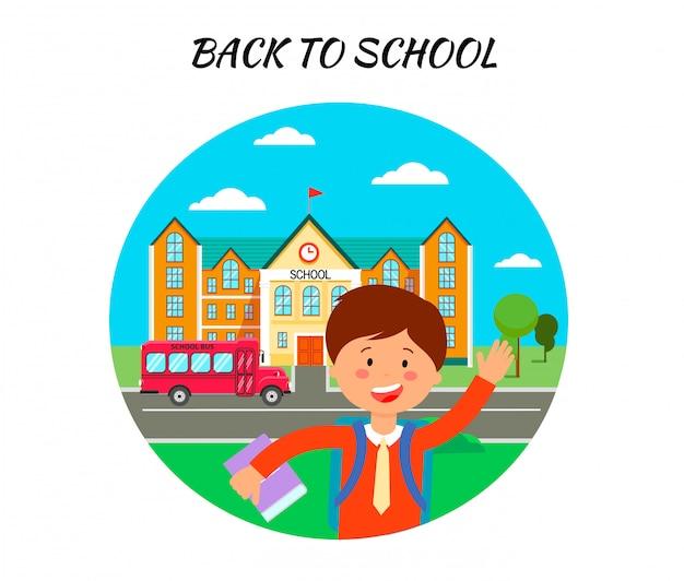 Terug naar school poster platte vectorillustratie