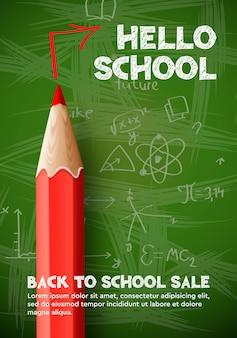 Terug naar school poster potlood op groene schoolbord achtergrond vectorillustratie