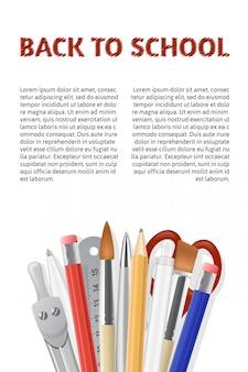 Terug naar school-poster. realistische kantoorbehoeften die op witte achtergrond wordt geïsoleerd.