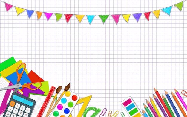 Terug naar school poster sjabloon met kleurrijke realistische schoolbenodigdheden.