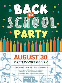 Terug naar school-poster. sjabloon van plakkaat met school of rugonderwijs voor schoolfeestfeest