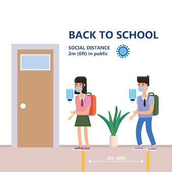 Terug naar school-poster veilige sociale afstand en coronavirus covid-19 preventie, kinderen in veilige maskers
