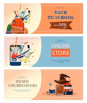 Terug naar school reclamebanner verkoop online winkel web platte illustraties voor basisschool