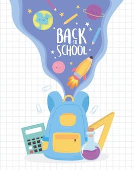 Terug naar school, rugzak briefpapier en studiebenodigdheden onderwijs cartoon