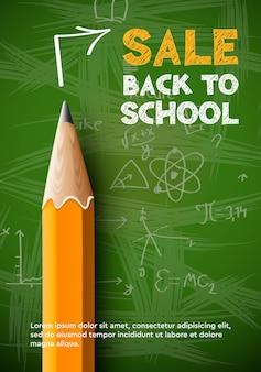 Terug naar school sale poster potlood op schoolbord achtergrond vectorillustratie
