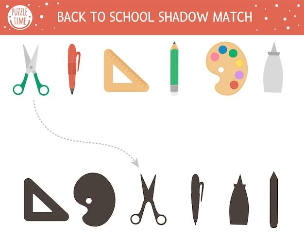 Terug naar school schaduw matching activiteit voor kinderen. schoolpuzzel met schattig briefpapier. eenvoudig educatief spel voor kinderen. zoek het juiste afdrukbare werkblad met silhouet.