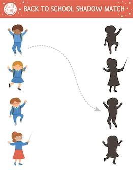 Terug naar school schaduw matching activiteit voor kinderen. schoolpuzzel met schattige schoolkinderen. eenvoudig educatief spel voor kinderen. vind het juiste afdrukbare werkblad met silhouet met leerlingen en leraar