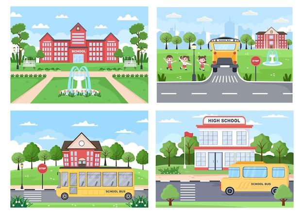 Terug naar school, schattige bus en enkele kinderen spelen in de voortuin illustratie