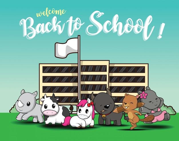 Terug naar school., schattige dieren cartoon.
