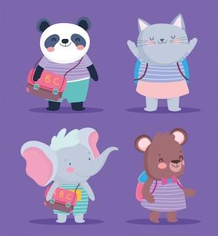 Terug naar school schattige dieren gestreepte kleding en rugzakken onderwijs