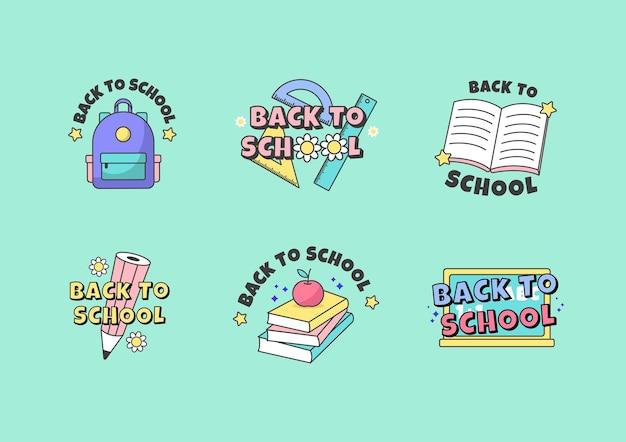 Terug naar school schattige stickercollectie