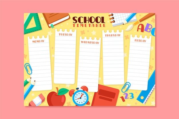Terug naar school schema plat ontwerp
