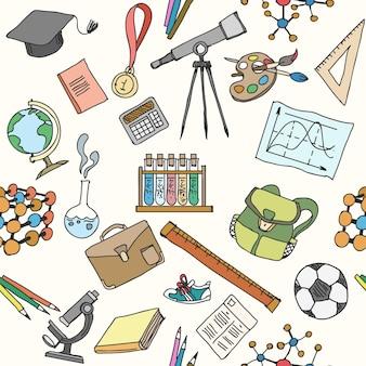 Terug naar school schets naadloos patroon
