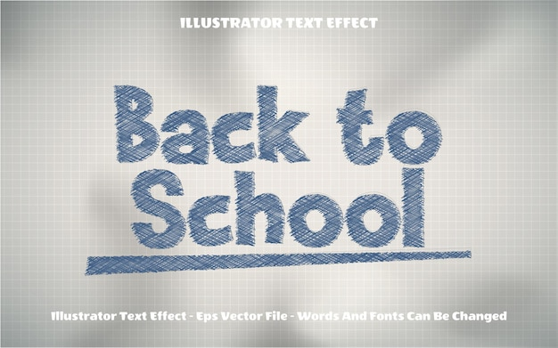 Terug naar school schets tekststijleffect