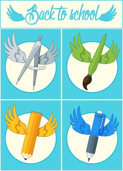 Terug naar school. school icoon met vleugels