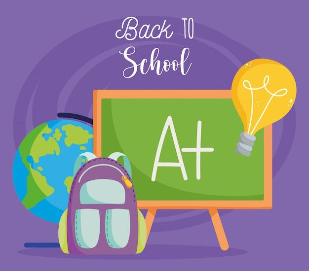 Terug naar school, schoolbord rugzak wereldbol kaart elementair onderwijs cartoon afbeelding
