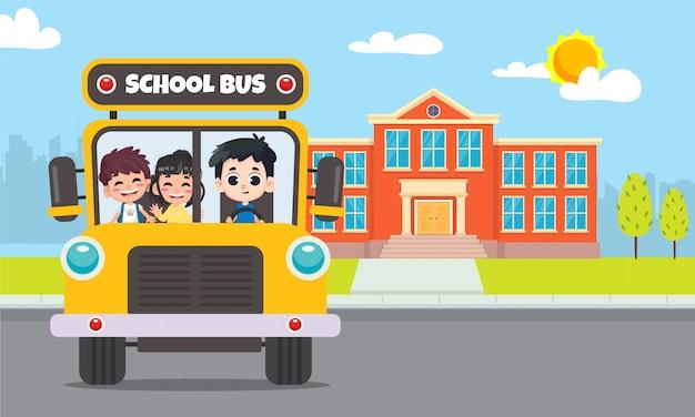 Terug naar school. schoolbus met studentenillustratie