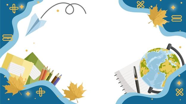 Terug naar school schoolspullen globe potloden in een pot schoolboekenschool achtergrond