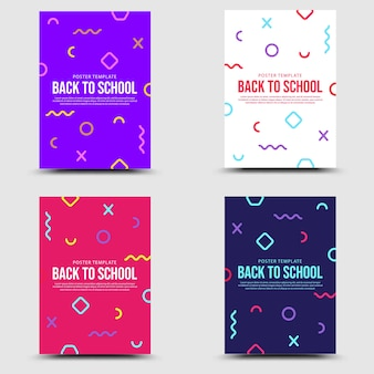 Terug naar school set banner memphis stijl