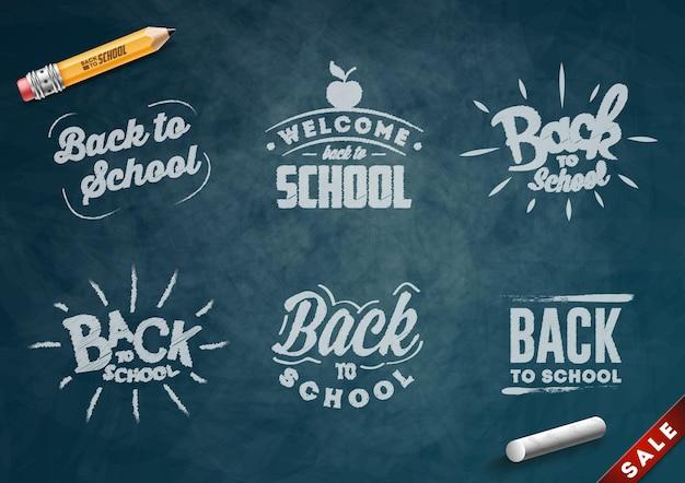 Terug naar school set banners. schoolbord achtergrond. vector illustratie.