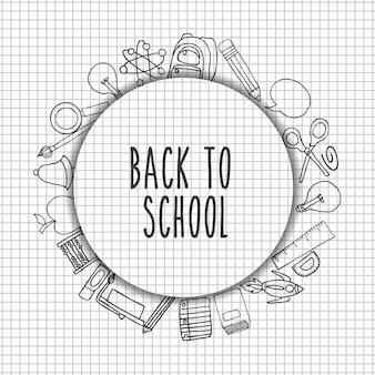 Terug naar school set benodigdheden pictogram