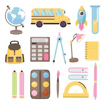 Terug naar school set collectie van verschillende schoolbenodigdheden